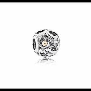 Pandora two tone Heart of Romance Charm